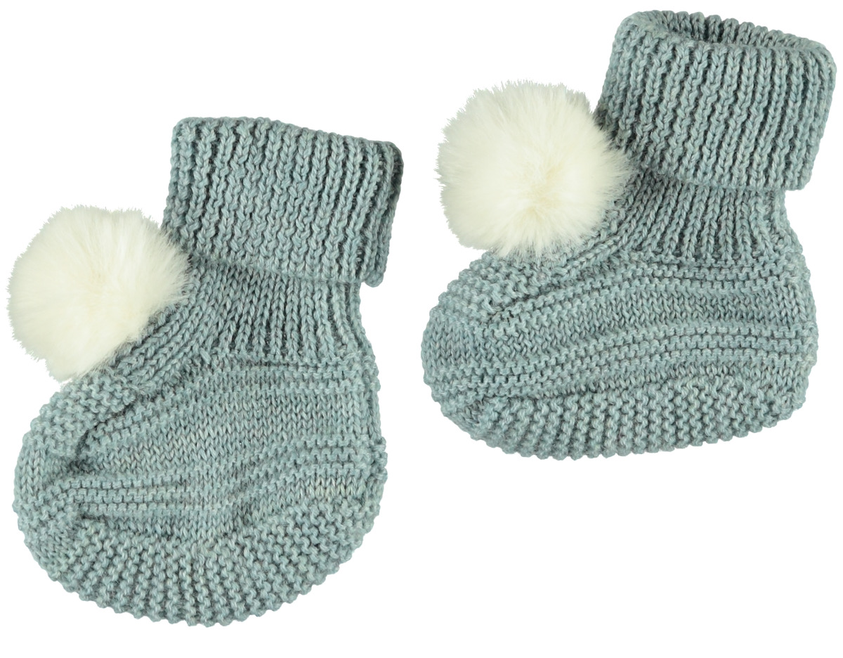 Wollslipper für Babys NBF WRILLA WOOL KNIT SLIPPERS W/DOT blau