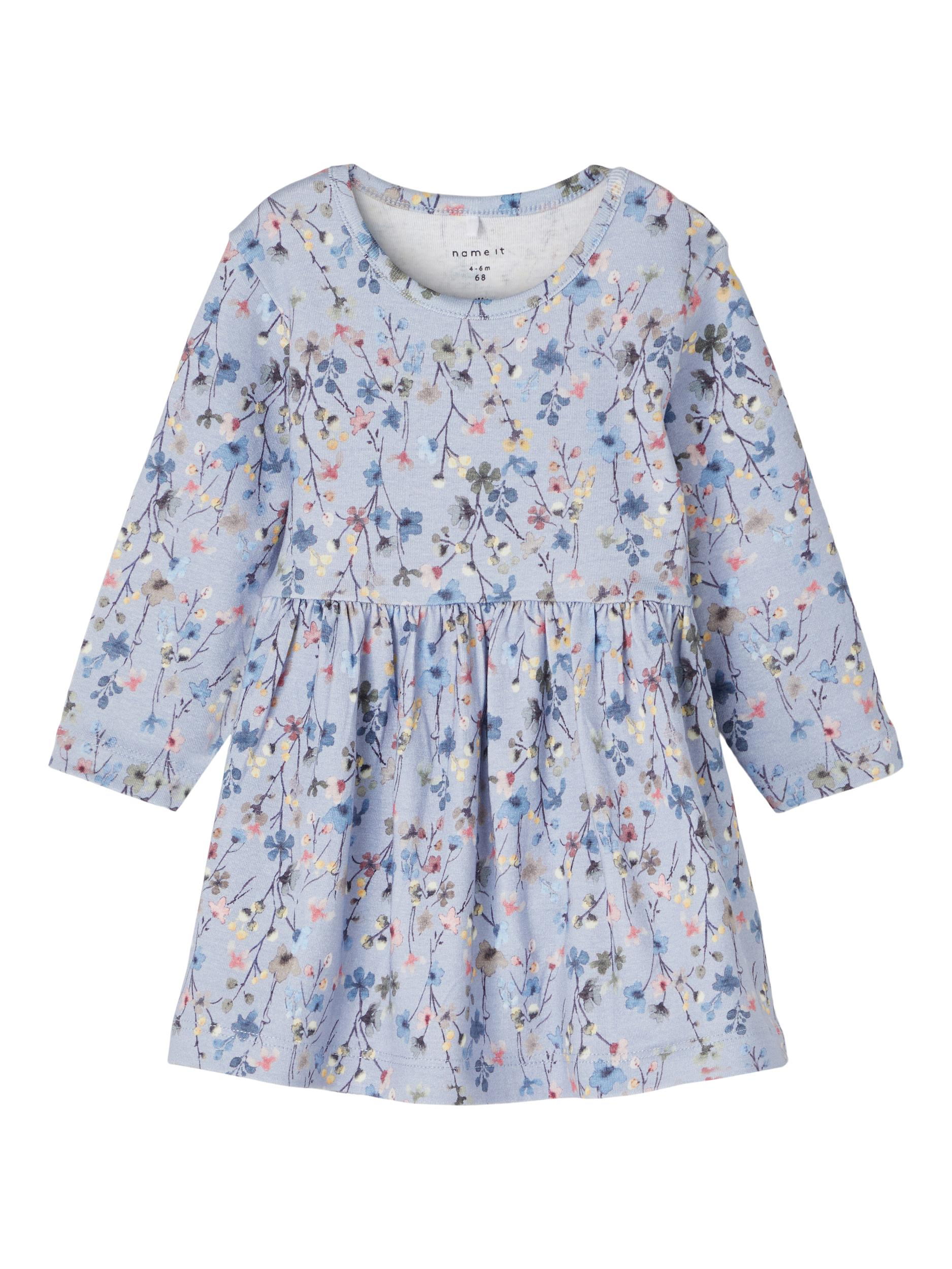Blumenprint Kleid NBF TESSIE LS DRESS -blau-